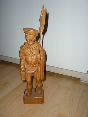Nachtwächter (Holzfigur-Nachtwächter mit Laterne und Hellebarde-geschnitzt Holz Höhe 40 cm)