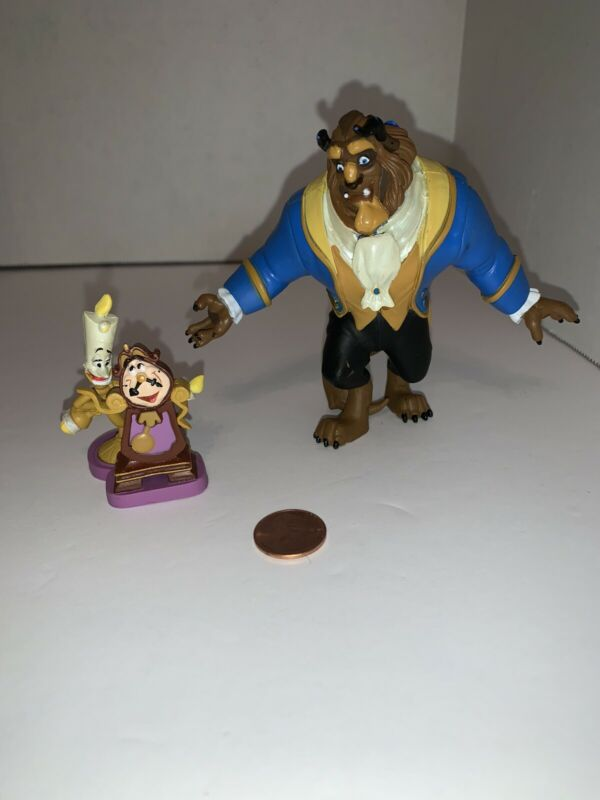 Disney Beauty and The Beast Figures Lumiere And Cogsworth And The Beast