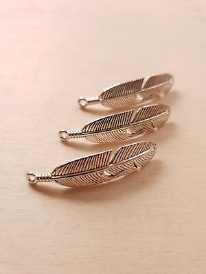 3 x Feder Verbinder für Armbänder ♥ Schmuckzubehör Basteln Deko Charms in Silber ()