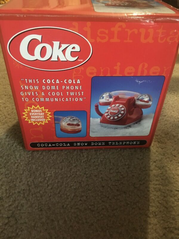 Coca Cola Snow Dome Telephone Coke Push Button Phone with Two Handsets