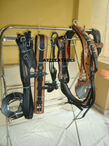 Designer 2 tone Leather Carved Driving harness for single horse cart