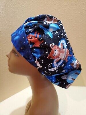 Cats in Space Women's Bouffant Surgical Scrub Hat/Cap Handmade Bouffant Surgical Hats