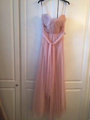 Jenny Yoo Bridesmaid Prom Long Maxi Dress Nude Cameo Pink Tulle Size US 12 NWT