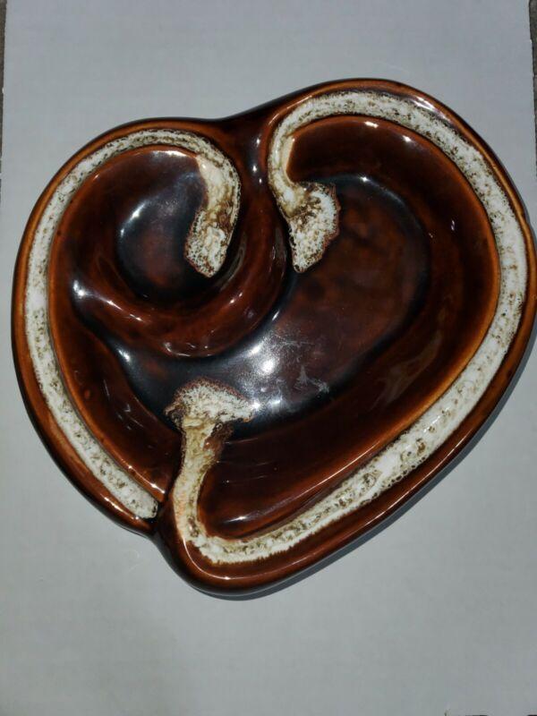 Vtg. Brown Drip Glazed Heart Bowl USA Pottery