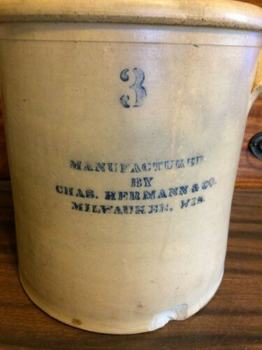 Crock 3 gallon made by Chas. Hermann and Co. Milwaukee,Wi.