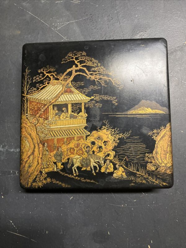 Vtg Antique Japanese Lacquer Box RATS OPIUM Meiji Period Family Rare Black Gold