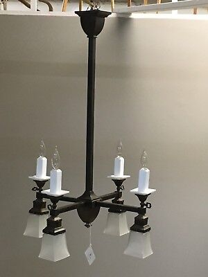 - Antique square four arm gas electric arts and crafts ceiling light fixture
