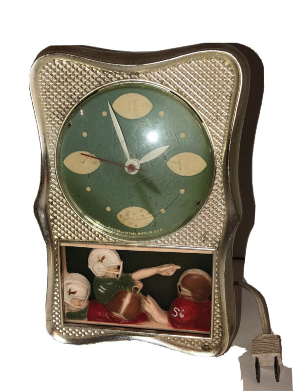 Mastercrafters Clock Corp. USA Vintage Model No. 641 Football Motion clock Works