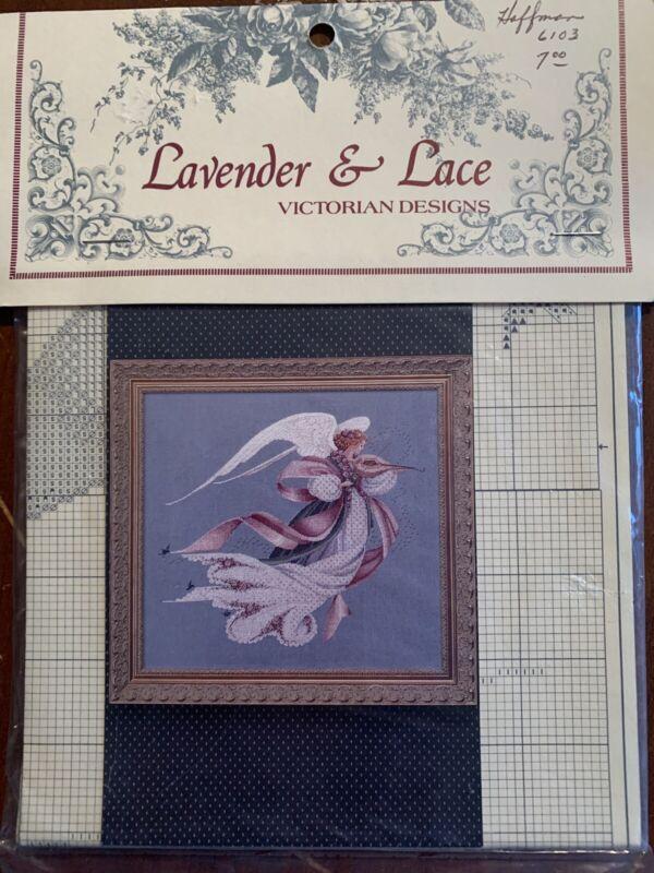 "1993 Lavender & Lace Cross Stitch Leaflet ""Angel of Spring"" Victorian Designs"