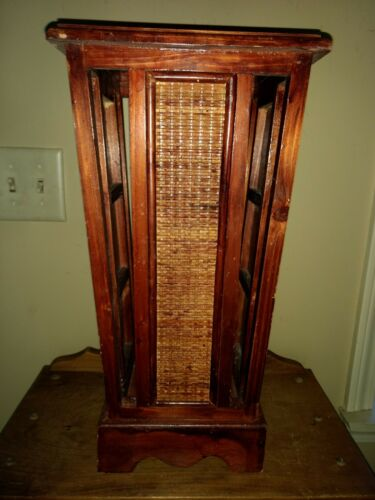 Vintage Wood Panel Wicker Rattan Umbrella Cane Stand Arts and Crafts Great Look