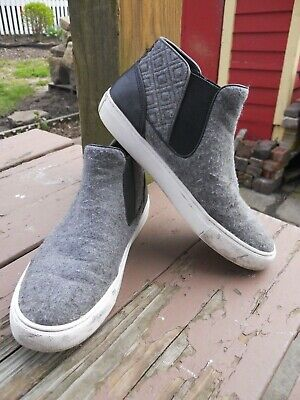 Tory Burch slip on casual ankle boots gray flannel material round toe sz 9