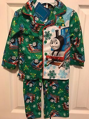 NWT $30 Boys Thomas The Tank Engine Train Christmas Flannel Pajamas Set 2T New