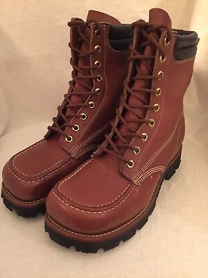 Oblique Safety Toe (MENS VINTAGE JC PENNY MOC SAFETY TOE OBLIQUE WORK BOOT - SIZE 7)