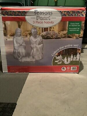 LOCAL PICKUP ONLY NEW 3 PC White Pearl Nativity Set Lighted Christmas Blow Mold