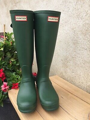 Hunter Gummistiefel Rainboots 37 grün matt