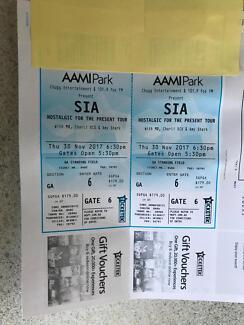 2x SIA GA Tickets. Melbourne Thursday 30th nov. hard copy