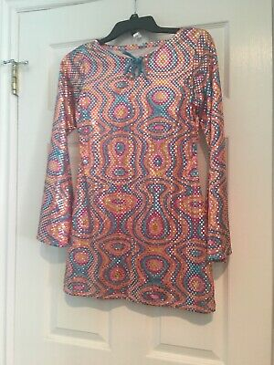 Girls Disco Clothes (Disco Diva Groovy Girls Dress (child Lg 12-14) w/Hippy)