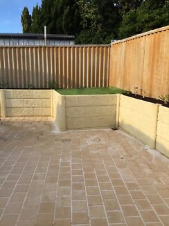 Brick paving and artificial grass