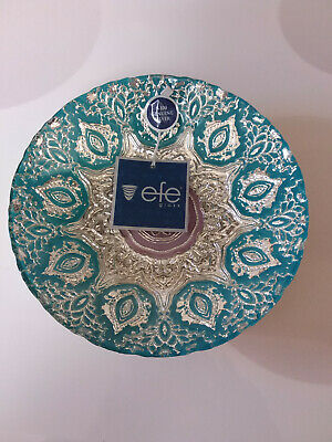 EFE GLASS TURKISH HAND MADE, TEAL AND LT.PURPLE COLOR BOWL 100% GENUINE SILVER