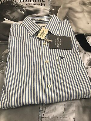 Abercrombie And Fitch Azul Rayas Gran Calidad Camisa XL