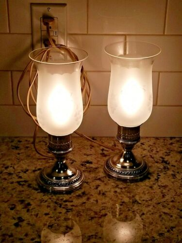 Vintage Pair of Crest Silver Co. Sterling Weighted Hurricane Boudoir Lamps VG+UC