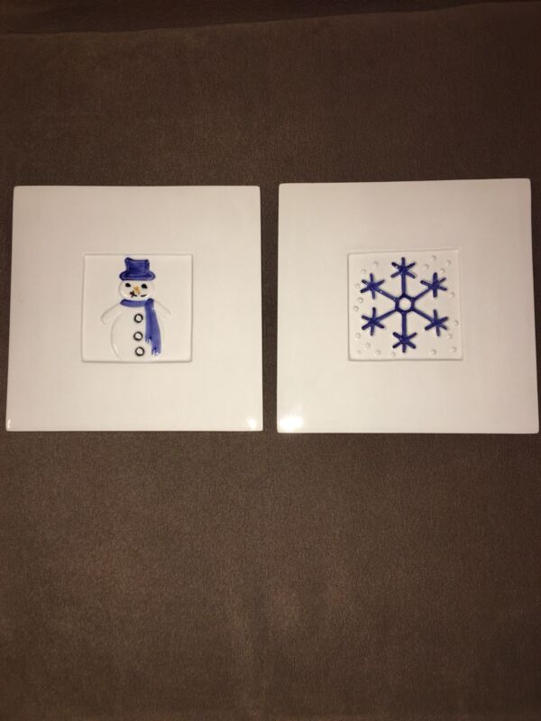 "2 Stefani Ceramica Tile Trivets/Wall Hanging 8"" squar Made in Italy ""Winter"""