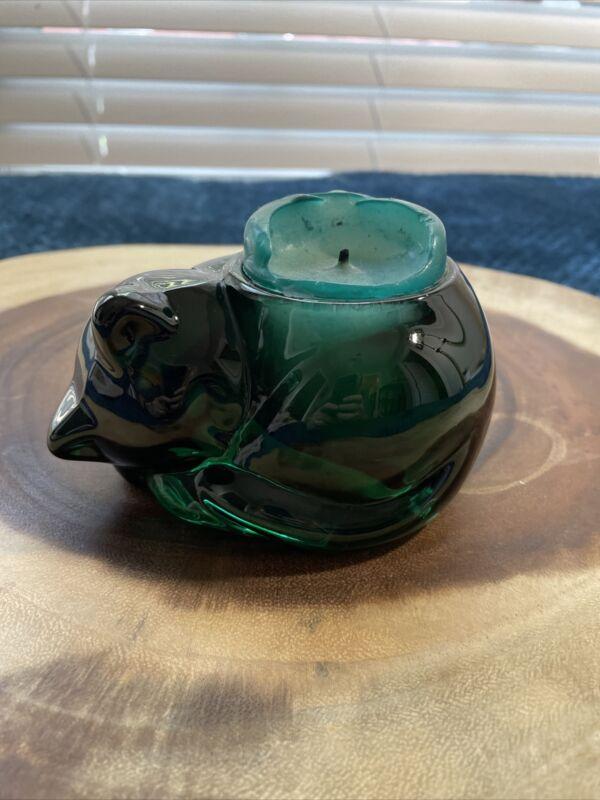 Vintage Deep Green Glass, Sleeping Cat, Votive Tea light Candle Holder