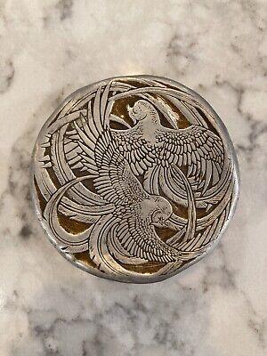 Vintage Aluminum Face Powder Box ROGER Et GALLET FLEURS d' AMOUR 1920's Lalique