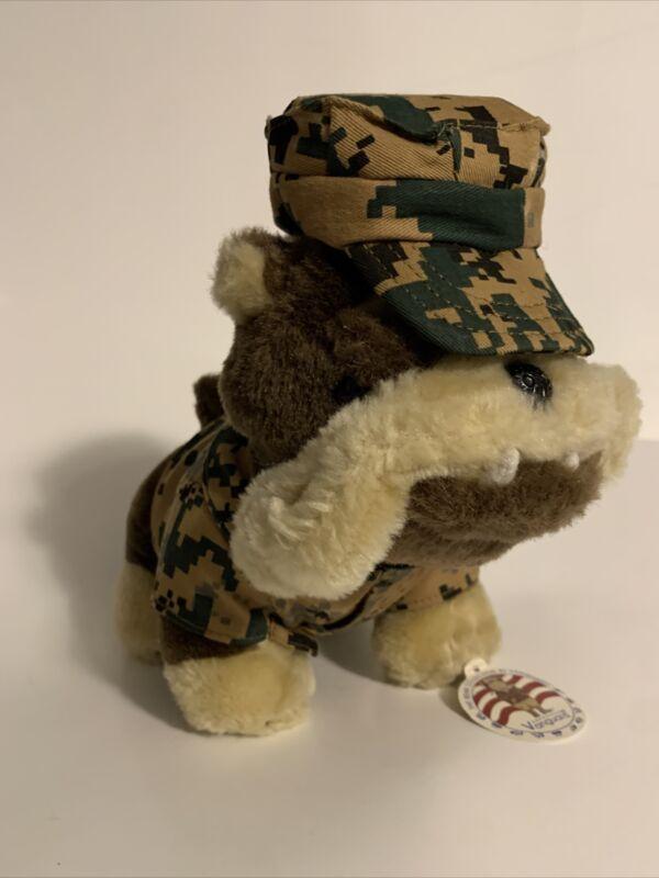 "USMC Marine Corps Bulldog 13"" Plush The Bear Collection By Vanguard New Tag Camo"