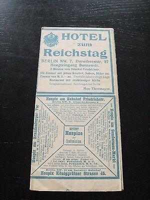 alter Berlin Stadtplan mit Werbung Hotel zum Reichstag Admirals Bad um 1910