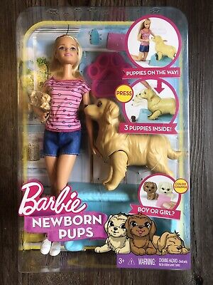 Barbie Newborn Pups Set with Doll, Mommy Dog & Color-Changing Puppies - Unopened