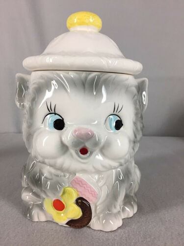 Vintage Cookie Jar Ceramic Gray Cat Kitten Holding Cookies Marked Japan