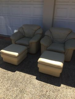 Leather lounge chairs x 2 with ottomans