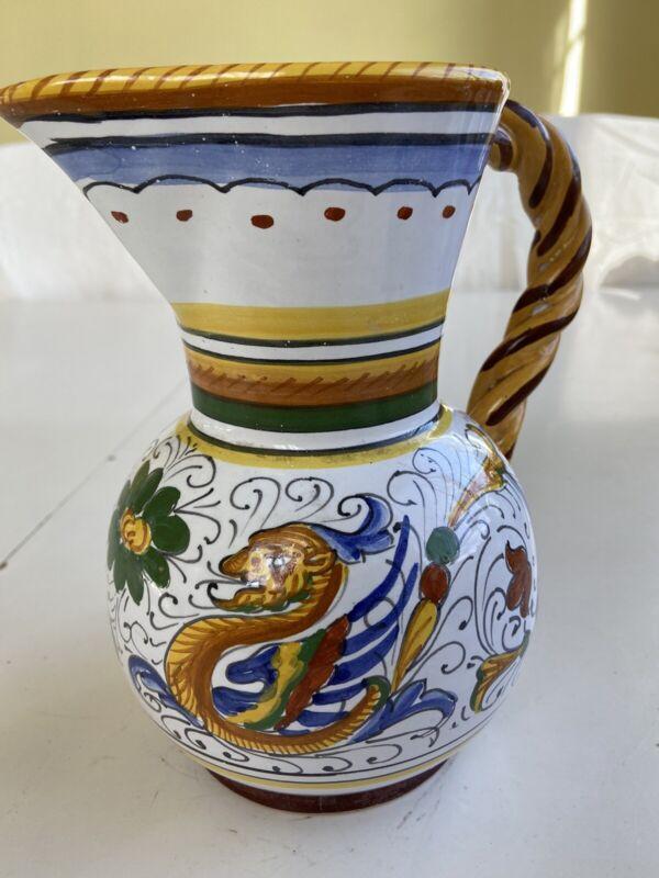 Deruta Italy Dragon Small Pitcher Italian Pottery Mint