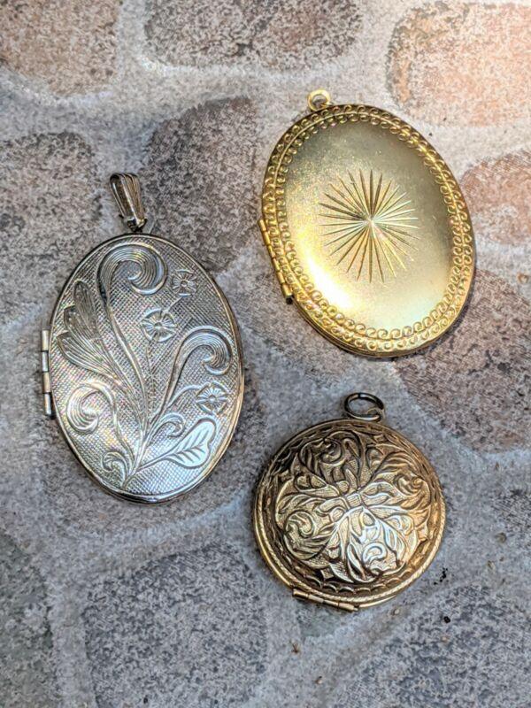 Lot Of 3 Vintage Style Gold Silver Tone Locket Pendants