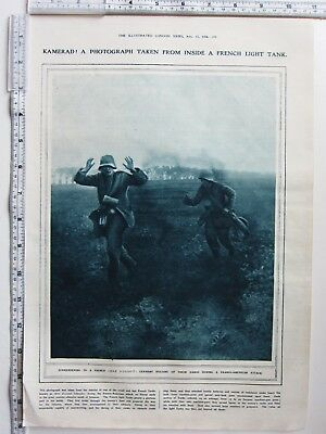 1918 WWI PRINT FROM INSIDE FRENCH LIGHT TANK GERMAN SOLDIERS SURRENDERING