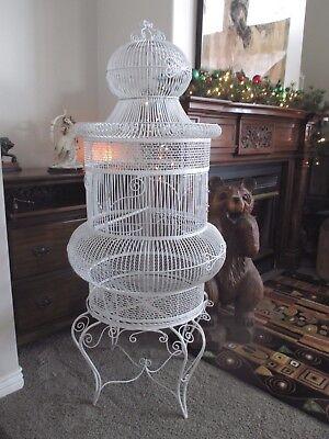 Vtg Antique Iron Bird Cage White 1960s Rare Architechtural Victorian Dome House