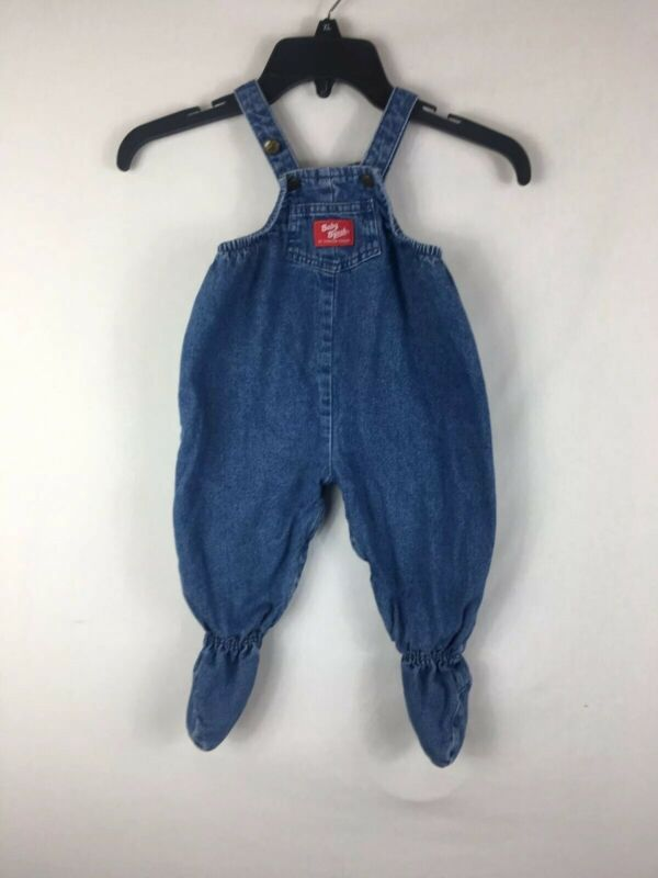 Vtg Baby BGosh OshKosh Vestbak Denim Quilted Lined Footed Overall Jumper 6/9 M