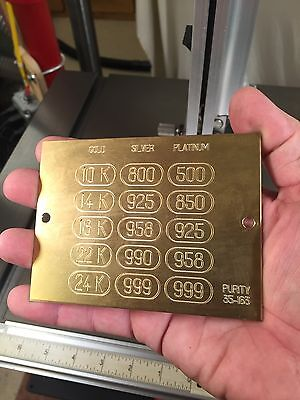 Precious Metals Fineness Solid Brass Engraving Plate For New Hermes Font Tray