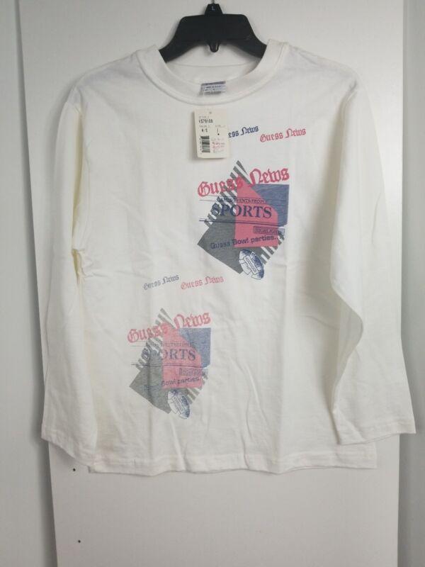 Rare 90s Vintage GUESS ?  USA White Long Sleeve T Shirt Size Kid Large Big Print