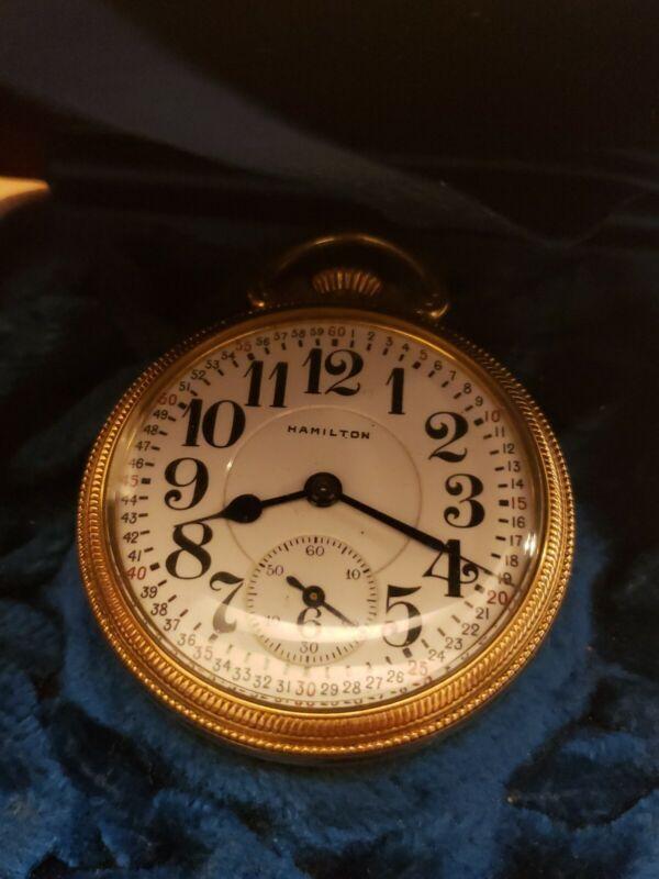 Antique Hamilton 10k gold filled 21j Railroad pocket watch double roller Box