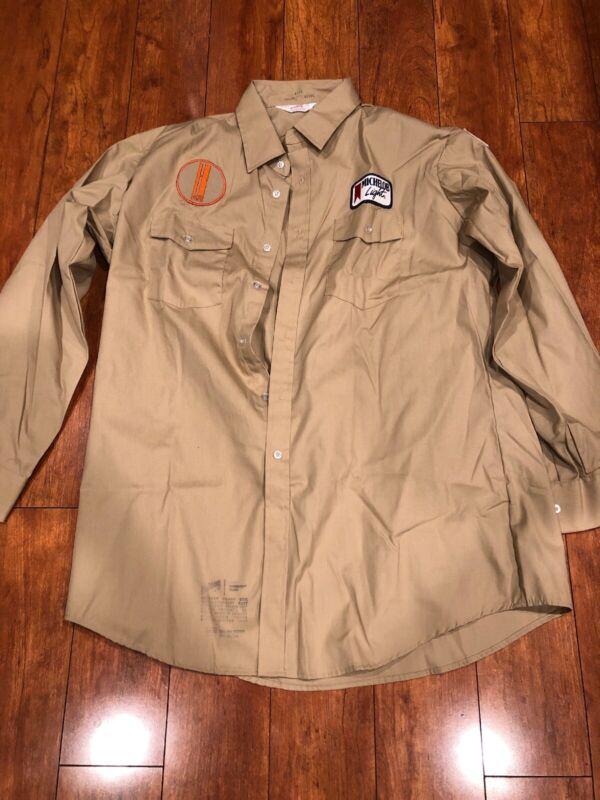 Vintage Beer Advertising Delivery Work Long Shirt Uniform Unitog Tan 17-17 1/2