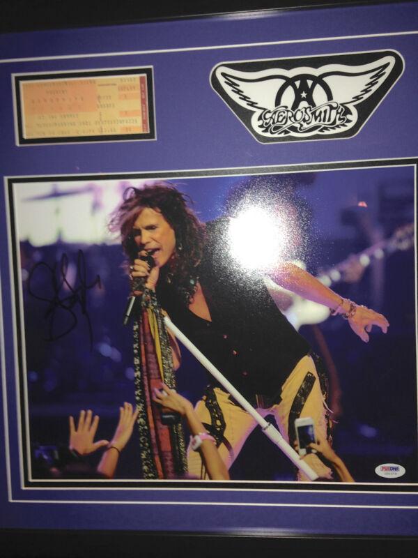 AEROSMITH Steven Tyler signed autographed photograph ticket stub FRAMED PSA DNA