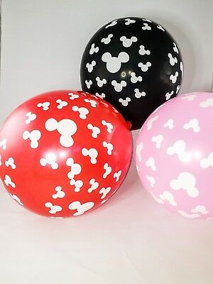 6 piece / Minnie Mouse - Mickey Mouse Birthday Party Latex Balloons, 12 inch