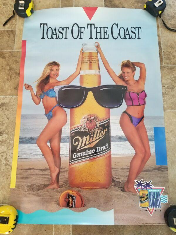 1988 miller mgd beer sexy girls on beach poster spring break man cave game room