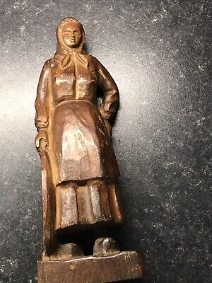 Vintage Original Spanish Wooden Carved Figure Lady With A Tray
