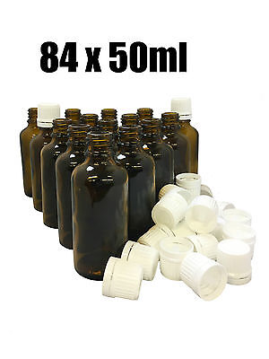 84x Apotheker Braunglasflasche mit Verschluss DIN18 Tropfflasche Glas 50ml