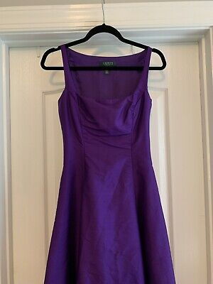RALPH LAUREN Purple Sleeveless 100% Silk Dress Size 6 Party Bridesmaid Cocktail
