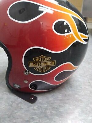 Harley-Davidson NEW 3/4 Helmet Black w/Flames XL