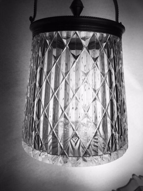 Victorian Edwardian Cut Glass Condiment Jelly Jam Sugar Pickle Jar Silver Plate